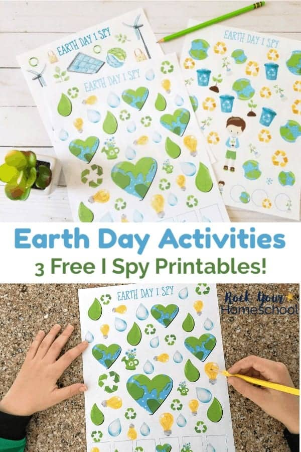 3 Earth Day I Spy printables with gree succulent on white wood and boy using yellow pencil to complete Earth Day I Spy on granite
