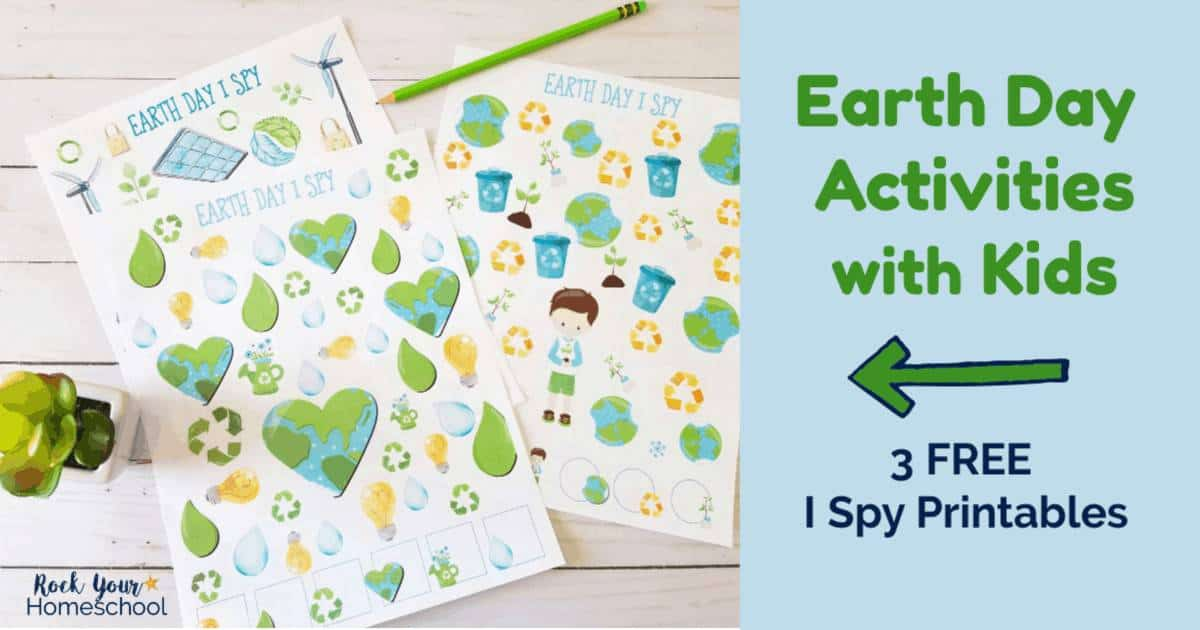 Enjoy Earth Day Activities with kids using these 3 free I Spy printables.