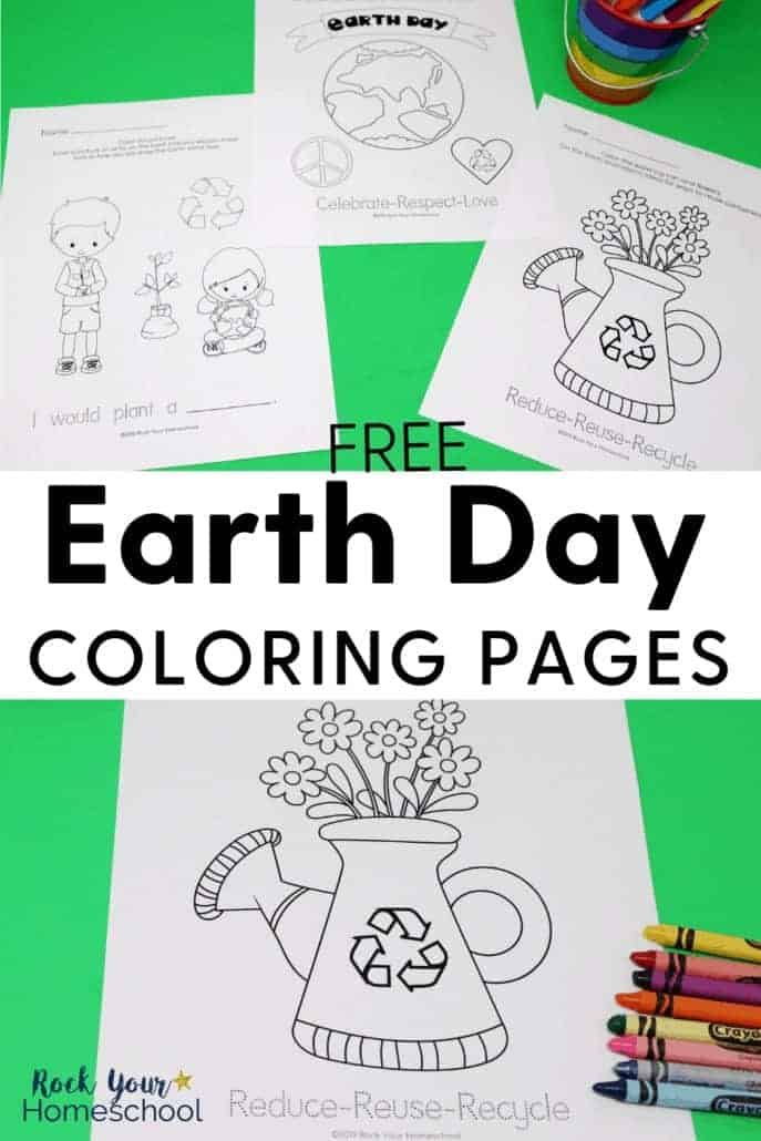 3 free Earth Day coloring pages with crayons & markers to feature the amazing learning fun opportunities these free printable activities provide to celebrate Earth Day with your kids.