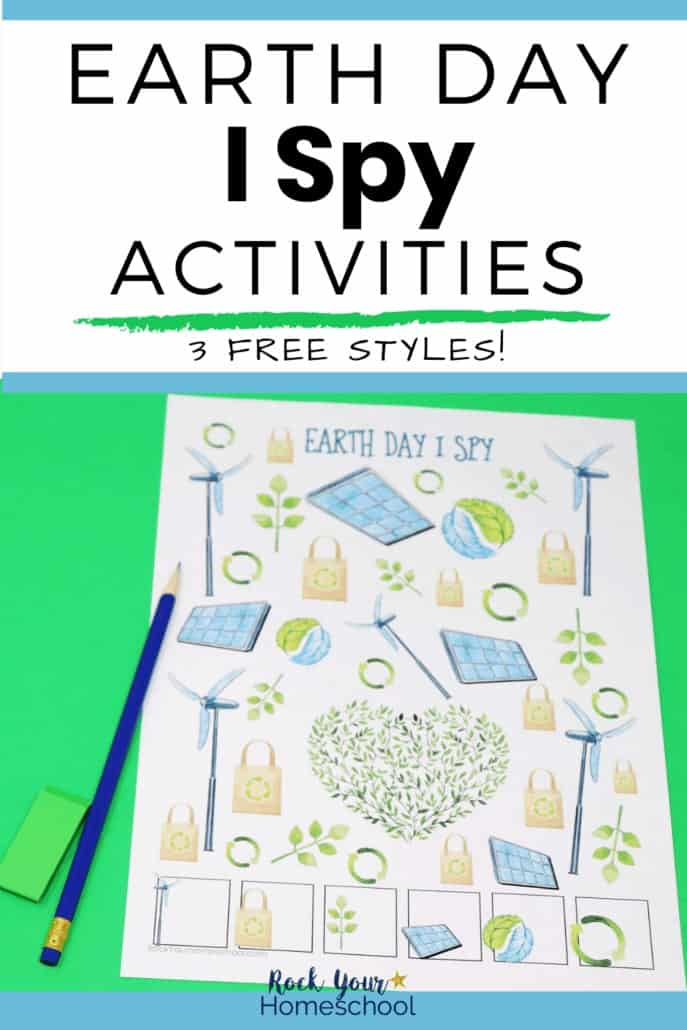Earth Day I Spy activity with blue pencil & green eraser to feature the amazing ways you can use these 3 free printable activities for special ways to celebrate Earth Day with kids