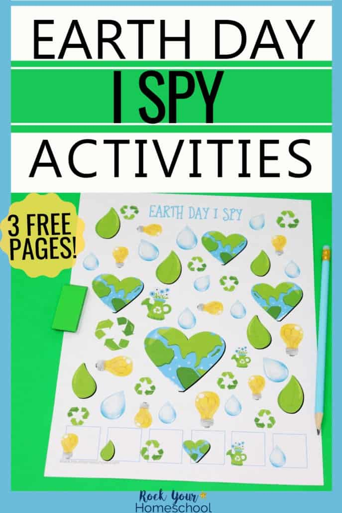 Earth Day I Spy printable activity with green eraser & blue pencil to feature the learning fun to be had with these free printables to celebrate Earth Day with kids