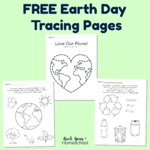These three free Earth Day Tracing Pages are wonderful activities to enjoy with your kids for a fantastic celebration.