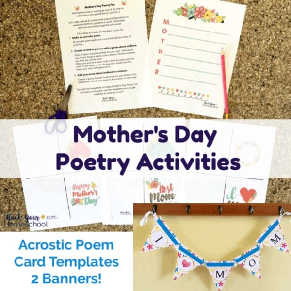Get this free Mother's Day Poetry Activities for Kids pack to make an acrostic poem, cards, & banners for special decor.