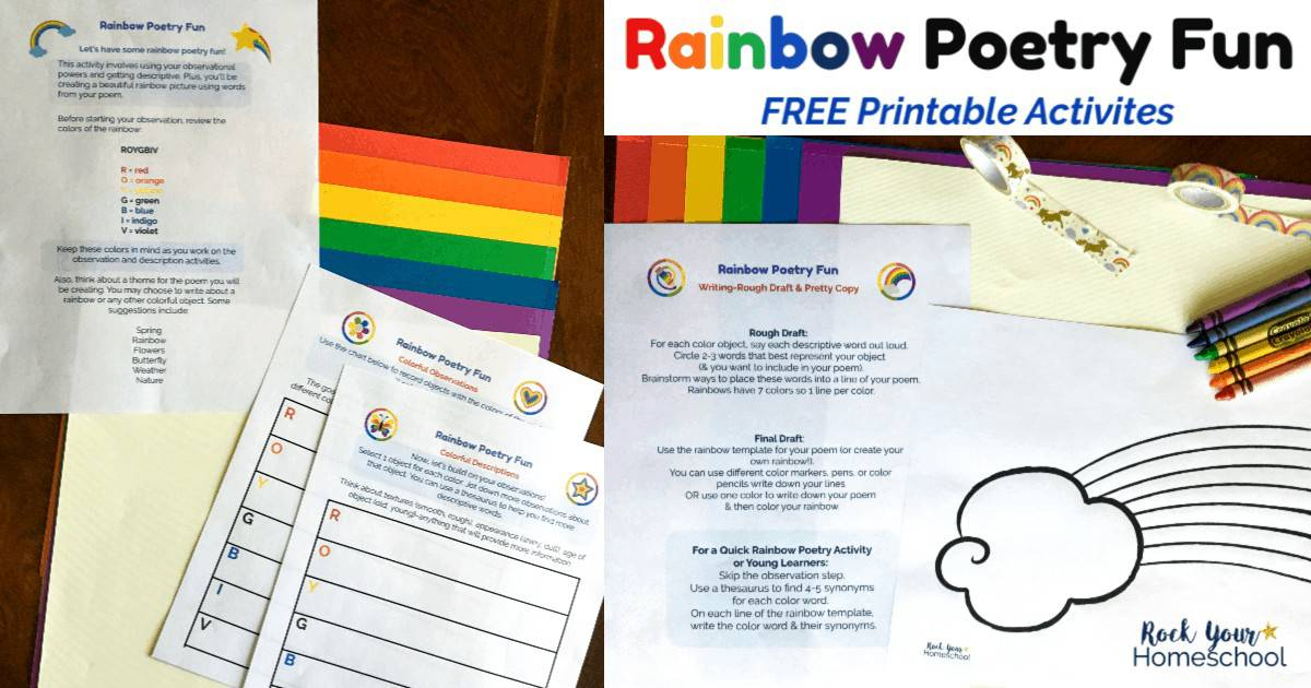 Enjoy Poetry Rainbow Fun for kids with these free printable activities.