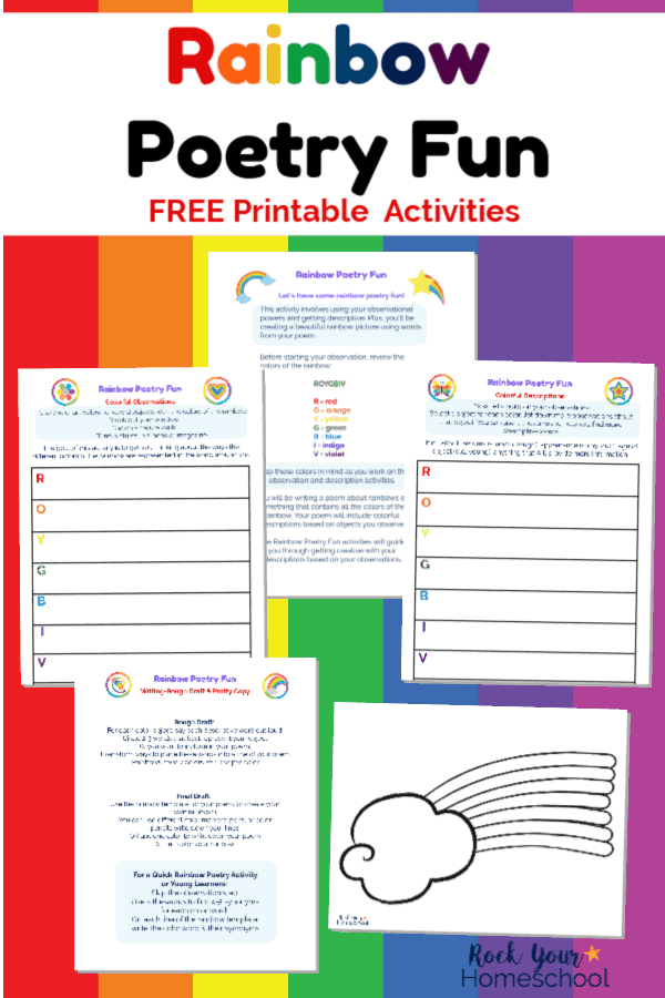 4 Free Rainbow Poetry Fun printable activities & rainbow template on rainbow stripe background