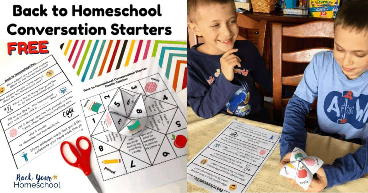 These 2 free Back to Homeschool Conversation Starters are awesome ways to get kids chatting about & excited for the upcoming year.