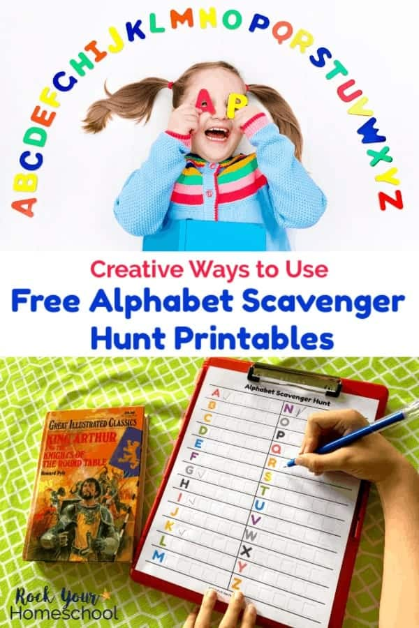 Girl with pigtails wearing a light blue coat with rainbow holding letter magnets over her eyes as she smiles on white background with arc of rainbow magnet letters around her and alphabet scavenger hunt printable on red clipboard with boy holding blue pen with book on lime green tablecloth