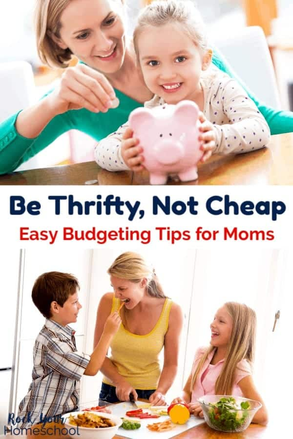 Mom wearing green sweater smiling with daughter wearing polka dot shirt holding pink piggy bank & adding coins and mom with pony tail wearing yellow tank top smiling as she does meal prep with vegetables with her son & daugther