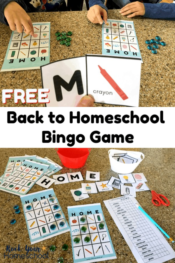 2 boy playing Back to Homeschool Bingo with green & blue colored glass markers on granite surface & mom holding up M & crayon cards and Back to Homeschool Bingo Game printables, red scissors, & red plastic container on granite surface