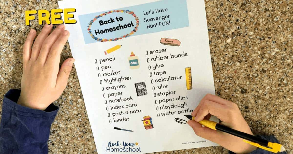 Make the first day of homeschool fun with this free Back to Homeschool Scavenger Hunt.