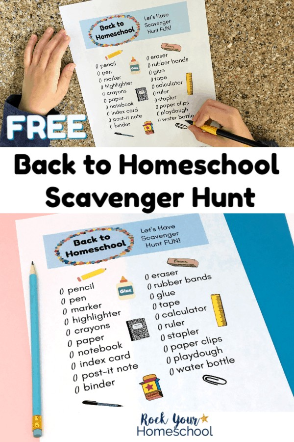 Boy using mechanical pencil to fill out Back to Homeschool Scavenger Hunt on granite surface and Back to Homeschool Scavenger Hunt printable on pink & blue paper with blue pencil
