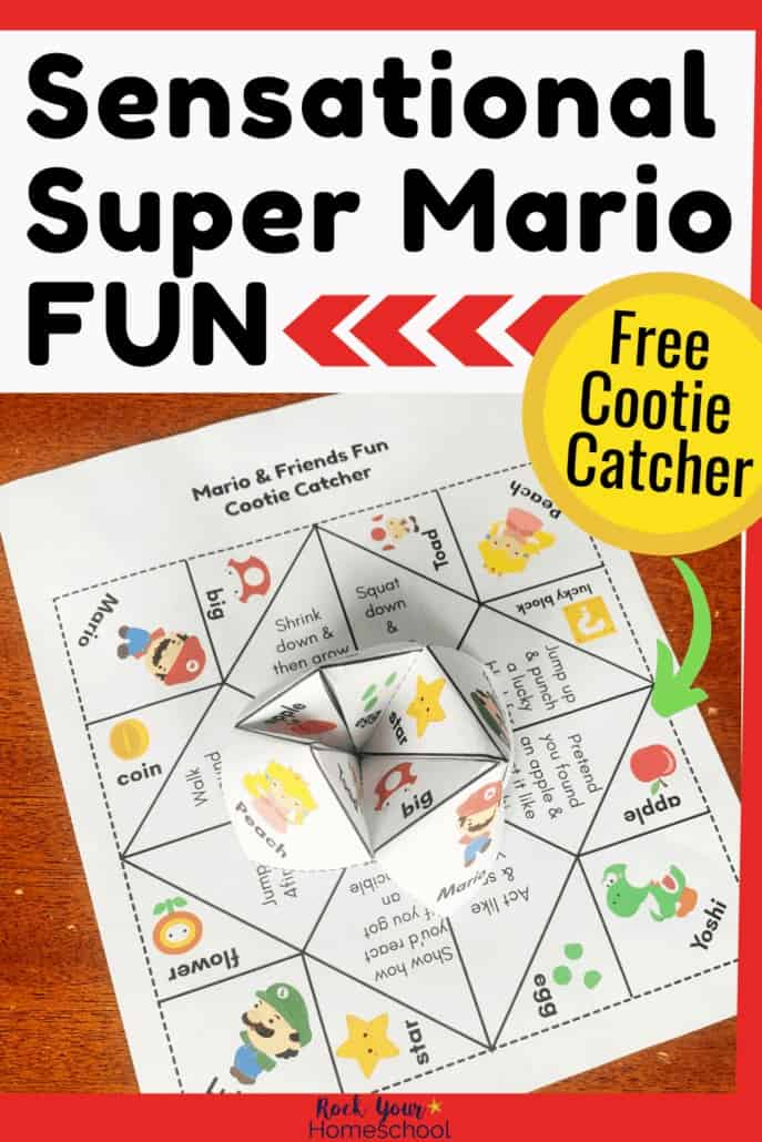 Super Mario cootie catcher folded & printable page featuring Mario, Luigi, Princess Peach, Yoshi, & more to highlight the easy, hands-on fun you can have with your kids without screens.