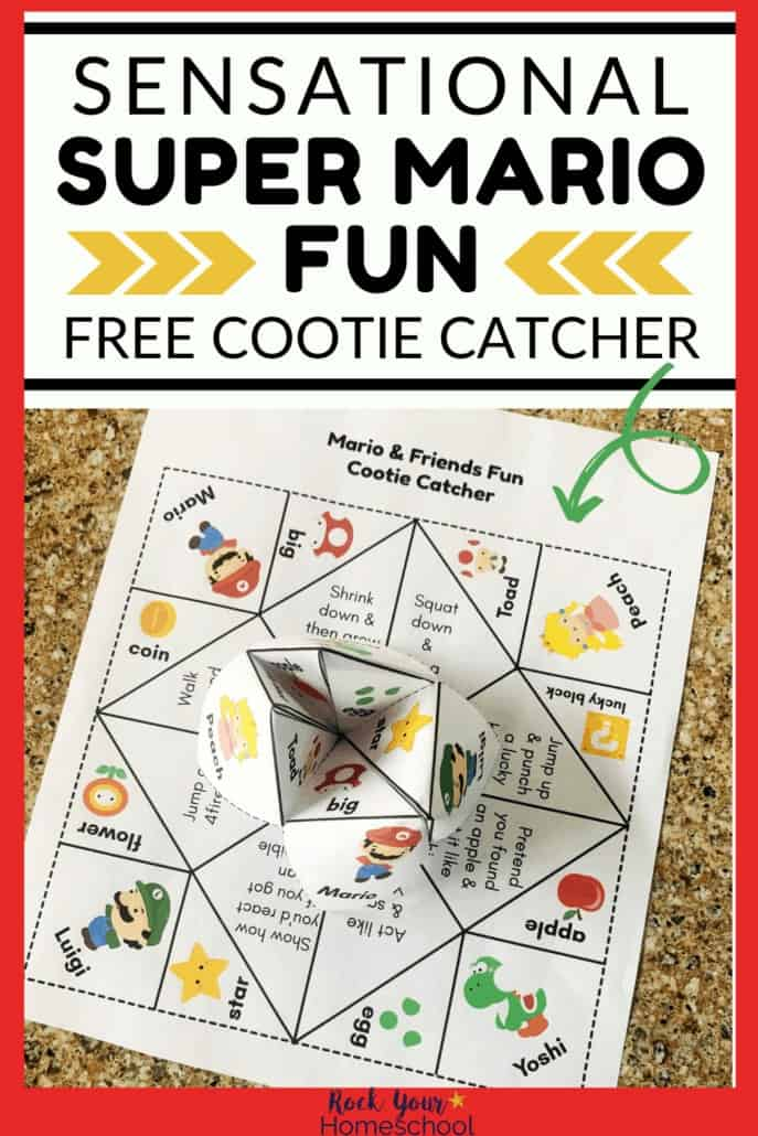 Super Mario fun cootie catcher folded & printable page to feature the awesome hands-on fun you can have with your kids using this printable activity with Mario, Luigi, Yoshi, Princess Peach, & more