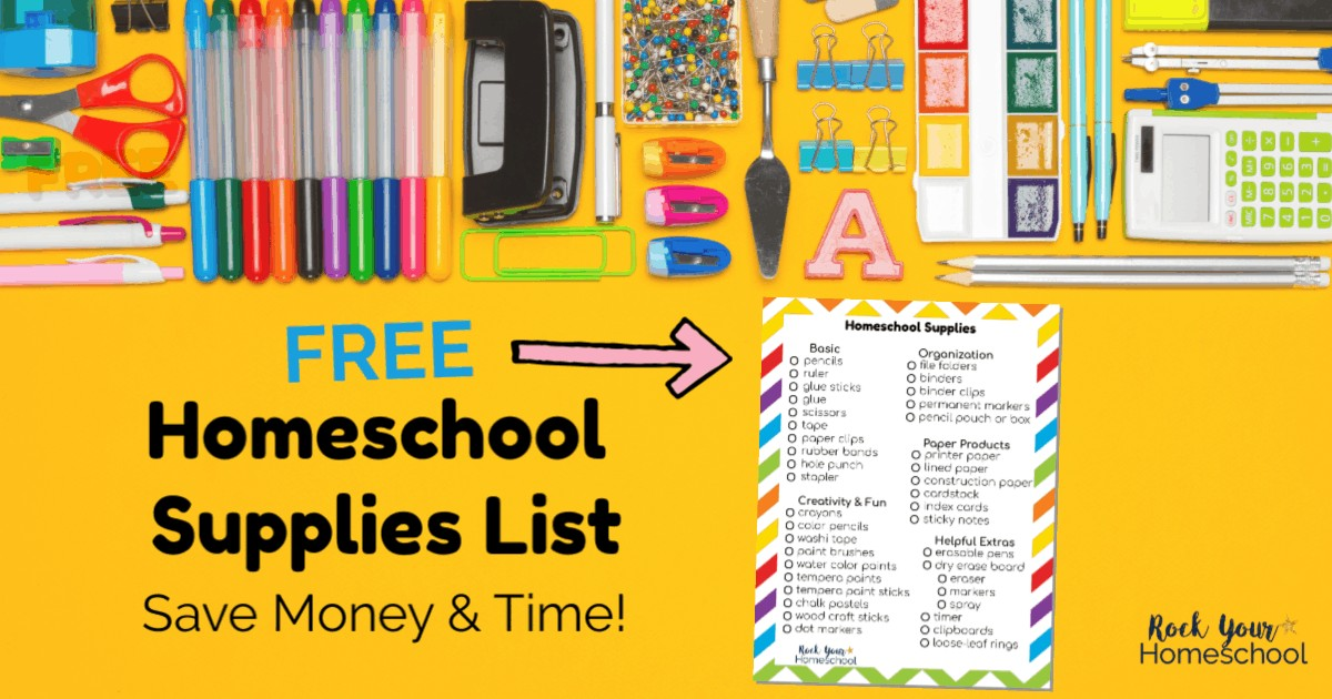 Here'a a free printable homeschool supplies list to help you save time & money.