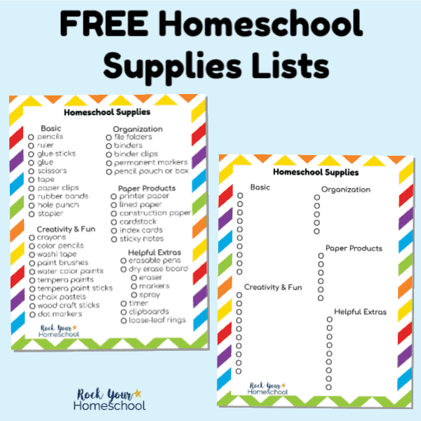 This free printable homeschool supplies list will help you get ready for the new year, save time, & money!