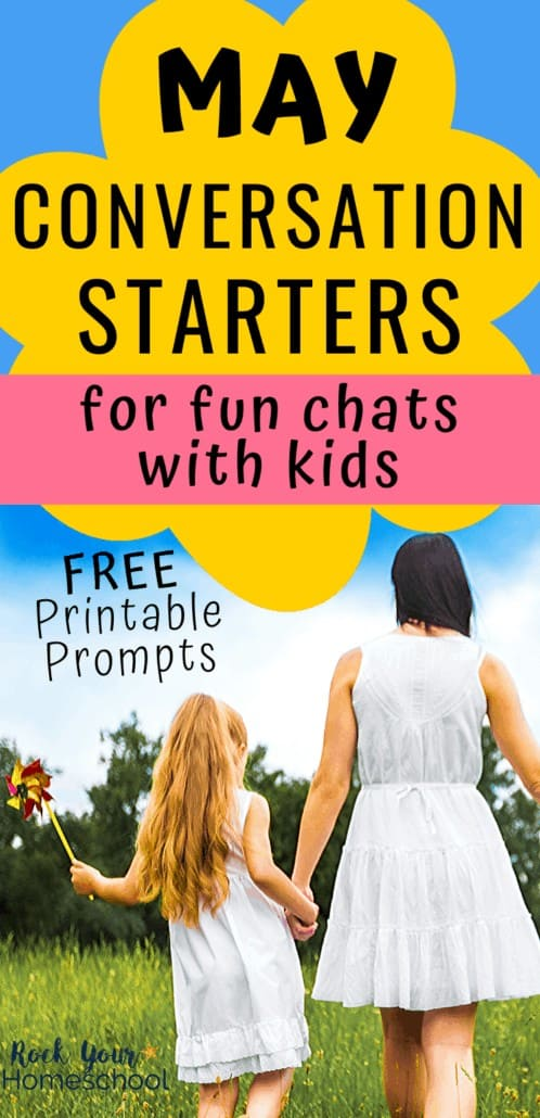 Mother & daughter holding a pinwheel on a sunny day to feature the fun chats you can have with your kids using these free printable May Conversation Starters