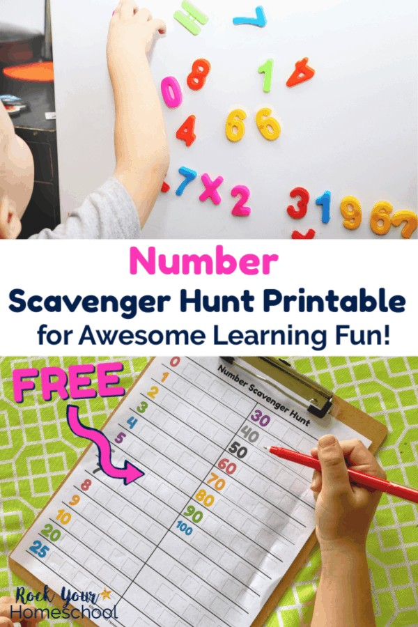Boy pointing at colorful number magnets on white surface and free Number Scavenger Hunt printable on brown clipboard with lime green tablecloth being completed by boy with red pen