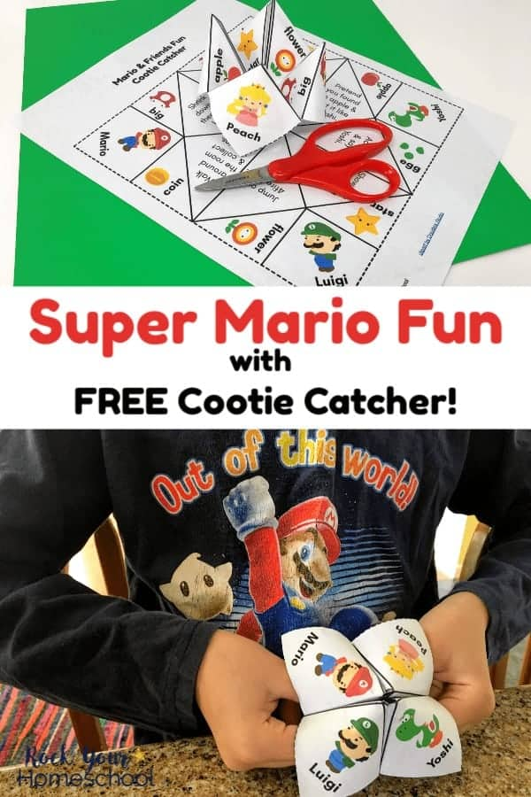 Free cootie catcher for kids for Super Mario Fun on green & white paper with red kids scissors and boy wearing Mario shirt holding Super Mario cootie catcher