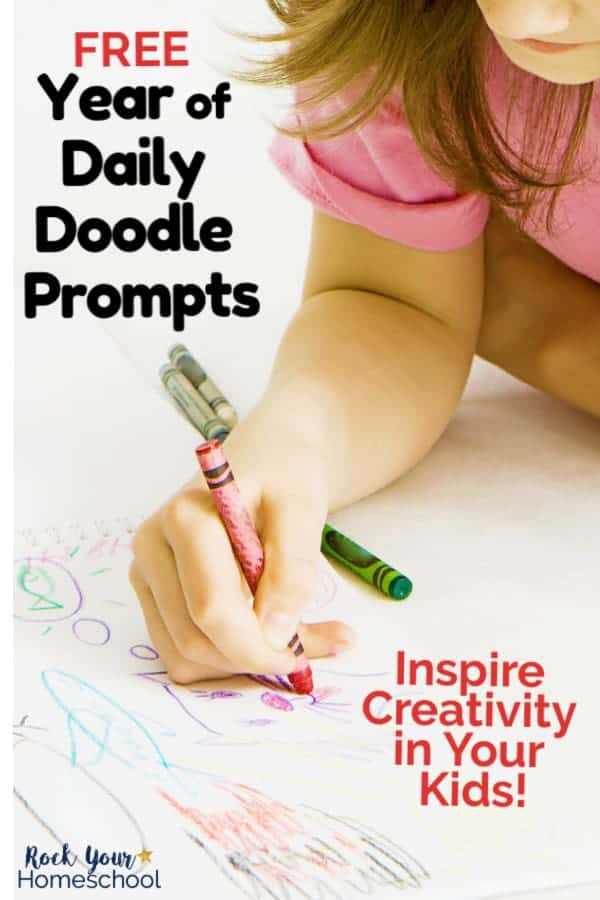 Young girl smiling as she uses a crayon to draw to feature the creative fun your kids will have with this free Year of Daily Doodle Prompts