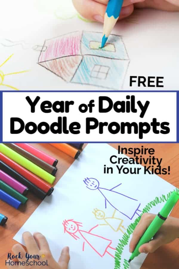 Boy using blue color pencil & child using markers to draw pictures to feature the creative fun your kids can have with this free Year of Daily Doodle Prompts