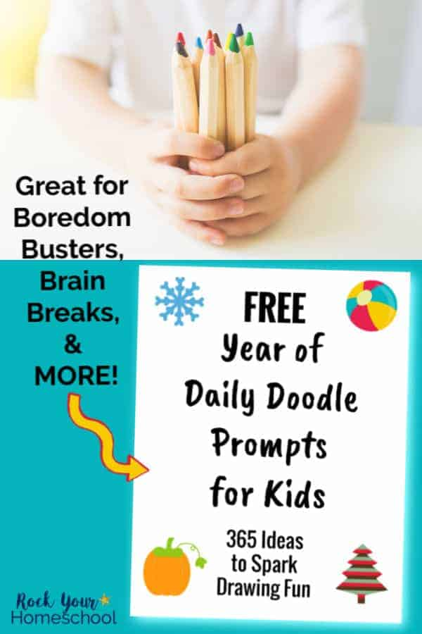 Boy holding wooden color pencils with white background and Free Year of Daily Doodle Prompts for Kids cover on teal background