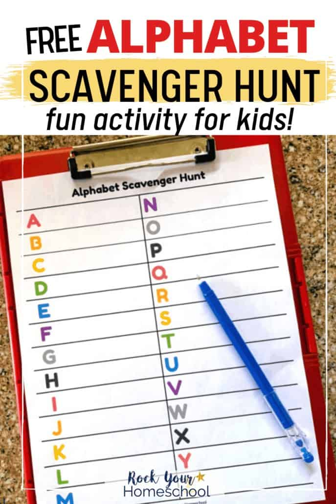Alphabet scavenger hunt with blue pen on red clipboard to feature the various ways you can enjoy this fun activity with your kids