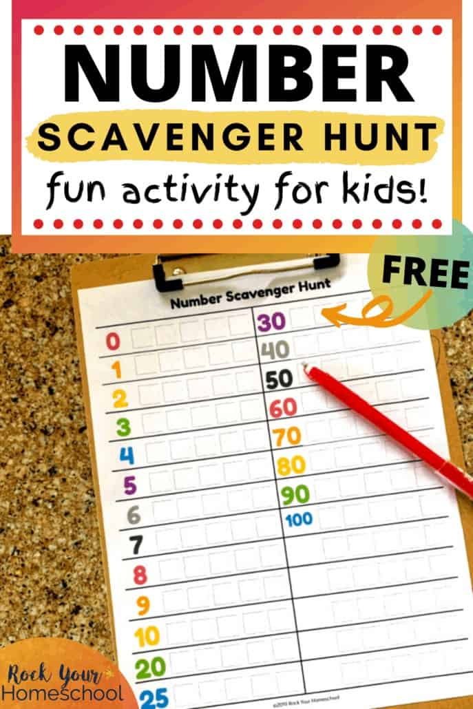 Number Scavenger Hunt with red pen on clipboard to feature the creative fun your kids will have with this free printable activity for home or on-the-go