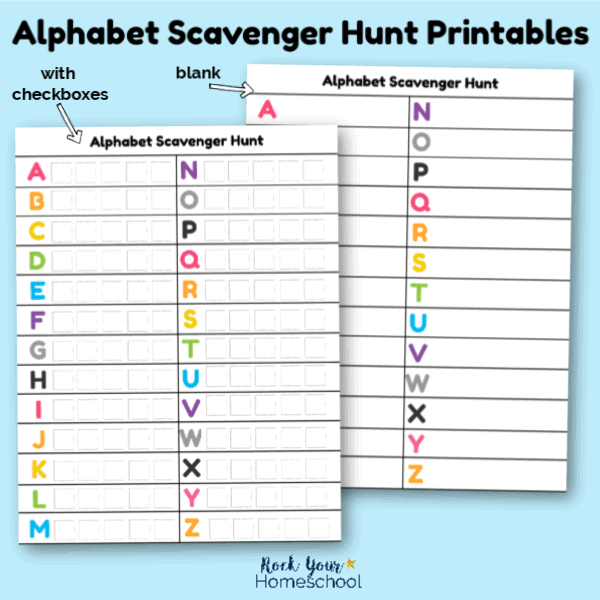 Get these free Alphabet Scavenger Hunt Printables for awesome learning fun activities for kids.