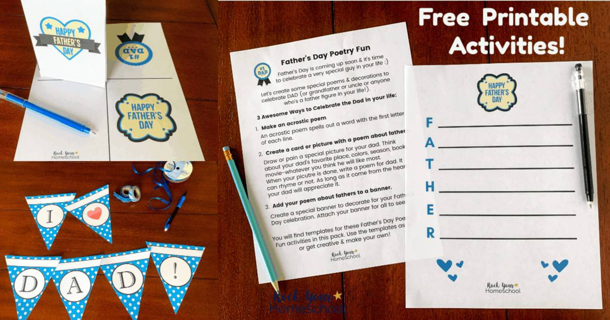 Have Father's Day Poetry Fun with kids using these free printable activities.