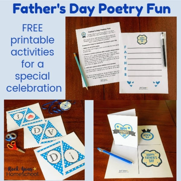 These free printable activities are awesome ways to have Father's Day Poetry Fun with kids.