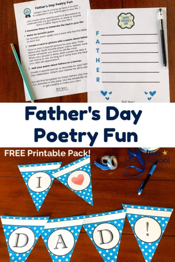 Father's Day Poetry Fun printables & acrostic poem with light blue pencil & black pen on dark wood table and decorative blue-and-white polka dot banner spelling I heart DAD! with blue glitter washi tape & pencil on dark wood