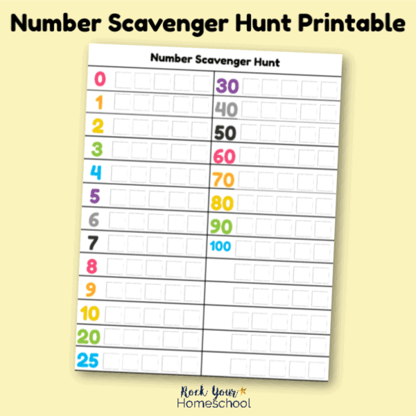 Get this free Number Scavenger Hunt printable for learning fun for your kids.