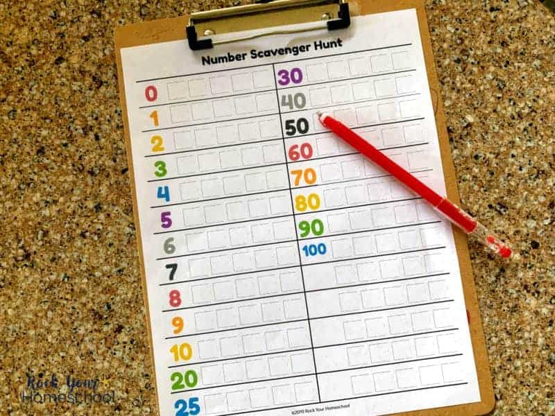 Add some learning fun to your day with this free Number Scavenger Hunt printable. Great way to boost learning on car trips, rainy days, & more.