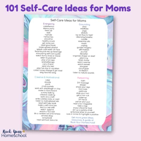 Get your free printable list of 101 Self-Care Ideas for Moms so you can enjoy self-care time whenever it pops up!