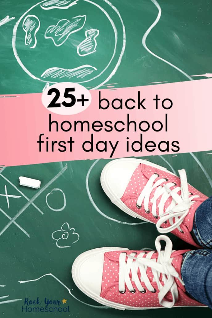 These pink sneakers & chalkboard with doodles are examples of fun back to homeschool first day ideas
