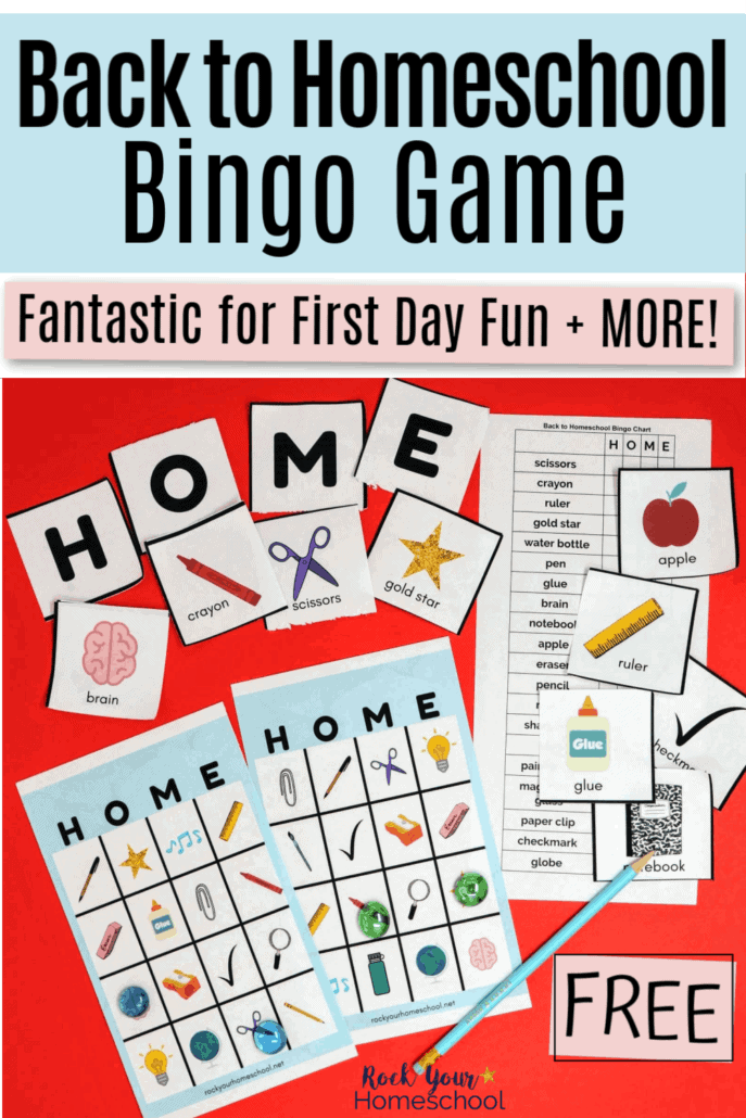 Back to Homeschool Bingo Game to feature how you can easily make this special time fun & exciting with this free printable bingo game