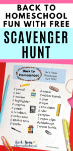 Back to Homeschool Scavenger Hunt with school supplies to feature all the fun you can have on your first day of homeschool with a special supplies scavenger hunt for kids