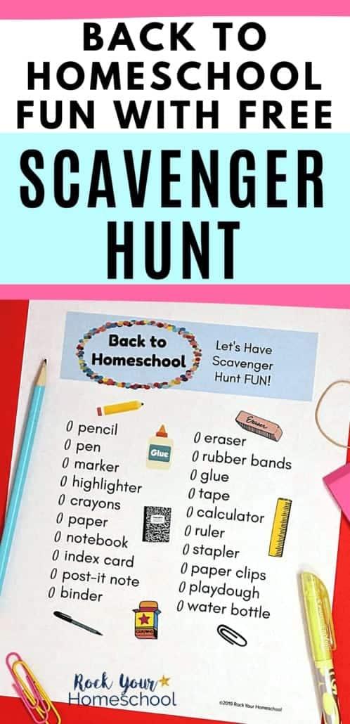 Fun & Free First Day of Homeschool Scavenger Hunt