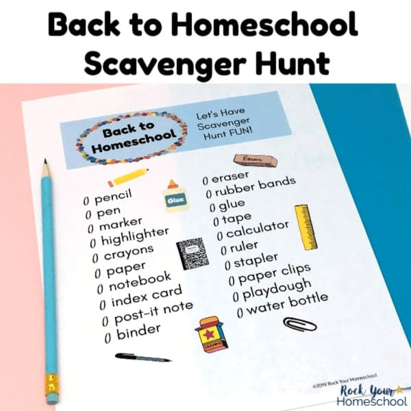Make your first day of homeschool memorable with this free printable Back to Homeschool Scavenger Hunt.