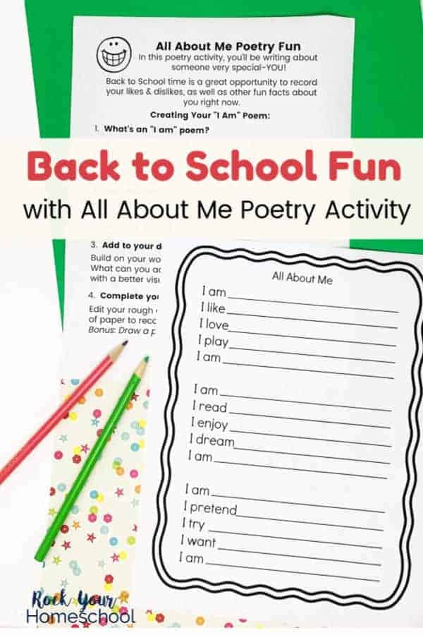 All About Me poetry activity lesson and template with red & green pencils on green & confetti background