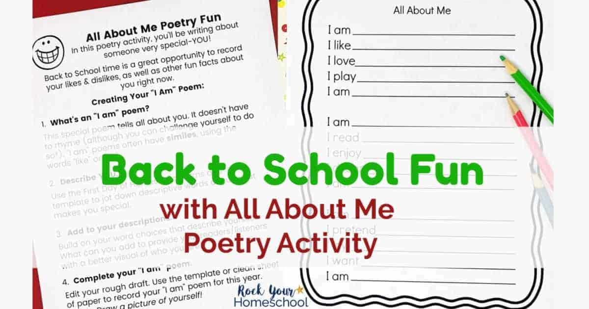 This All About Me Poetry Activity is a fantastic way to enjoy Back to School Fun with kids.