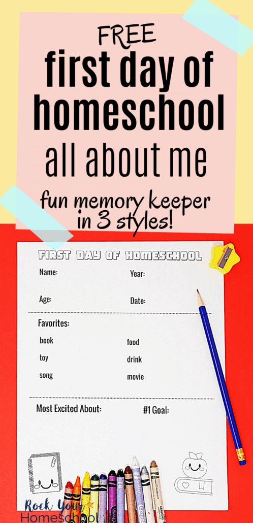 First Day of Homeschool printable for All About Me Fun to feature how these 3 free printables are awesome ways to get excited about the homeschool year & use as memory keepers