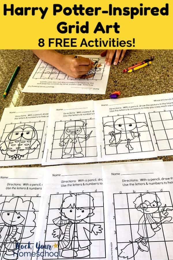 Boy coloring Harry Potter-inspired grid art using crayon with more crayons, erasers, & green pencil and more Harry Potter printables on granite surface