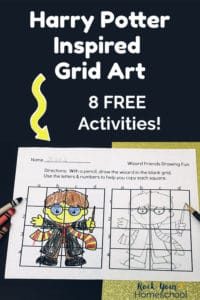 Harry Potter-Inspired grid art printable with crayons & pencil on black & gold sparkle paper