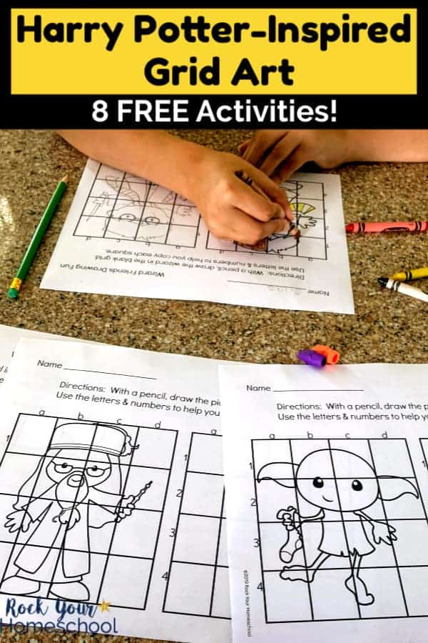 Boy coloring Harry Potter-Inspired Grid Art with crayons, erasers, green pencil, & printables on granite surface