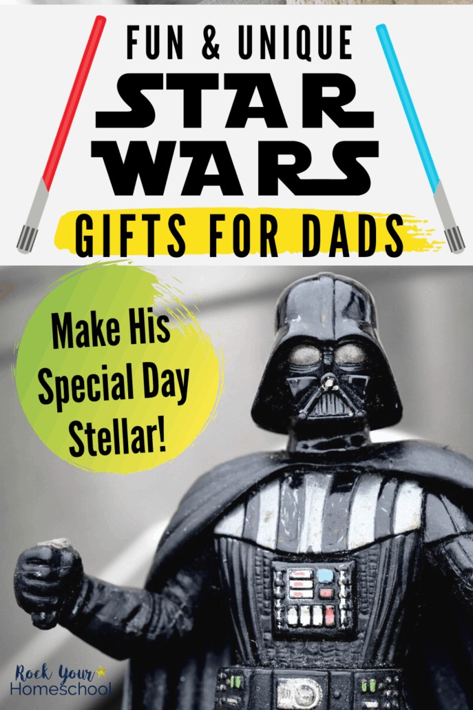 Darth Vader figure with fist to show how your special guy will love these fun & unique Star Wars gifts for dads