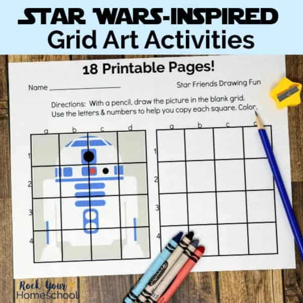 These 18 free Star Wars-Inspired Grid Art Activities are spectacular ways to inspire & encourage drawing fun with kids.