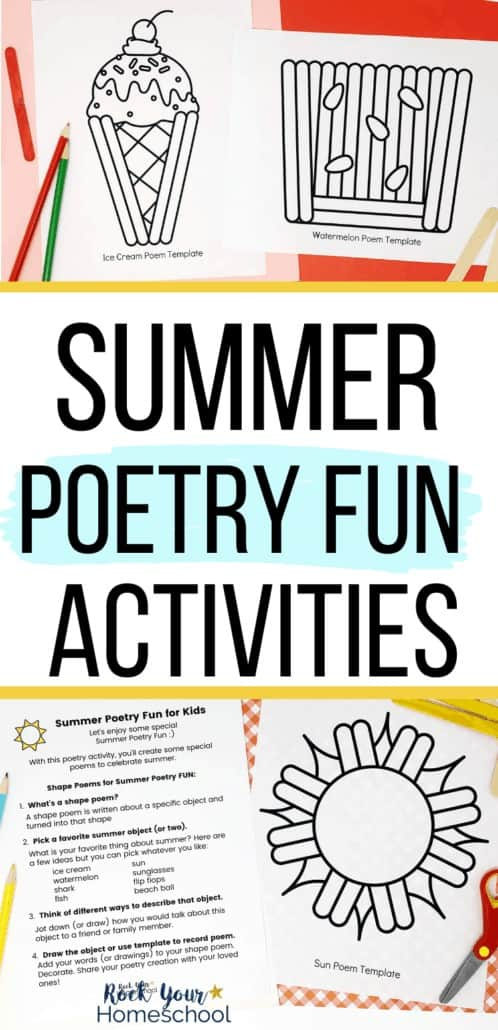 Summer shape templates and summer poetry fun activities to feature the amazing learning fun you can have with these summer-themed poetry activities for kids