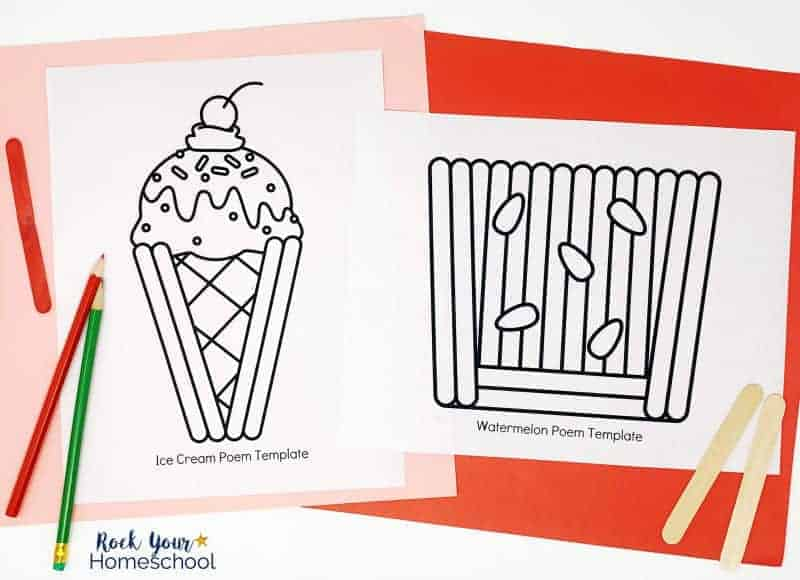 Create special shape poems for Summer Poetry Fun for Kids.
