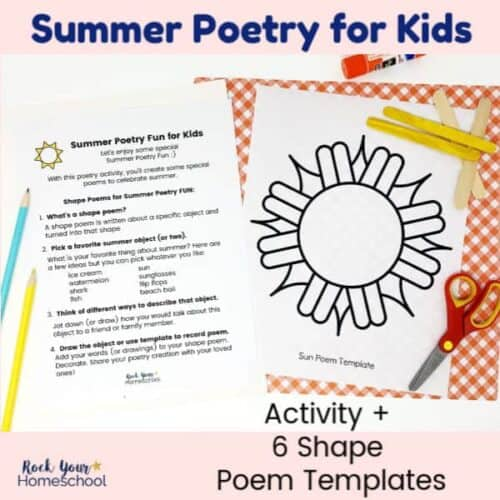 This Summer Poetry for Kids pack is a fun activity for making seasonal shape poems.
